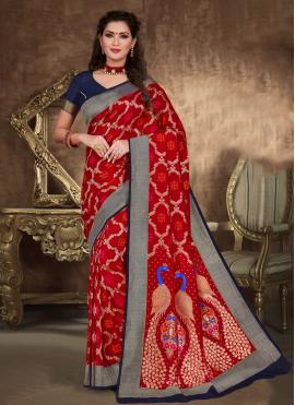 Honourable Red Art Silk Designer Traditional Saree