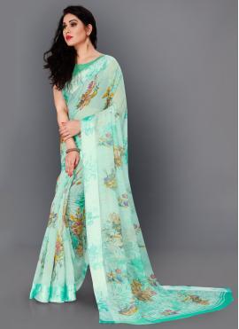 Honourable Sea Green Floral Print Trendy Saree