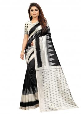 Honourable Silk Abstract Print Black Traditional Saree
