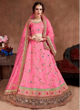 Honourable Silk Zari Pink Trendy Lehenga Choli