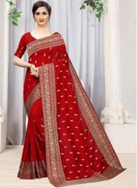 Honourable Stone Work Red Classic Designer Saree