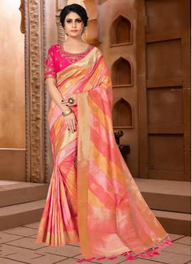Hot Pink and Orange Color Designer Traditional Saree