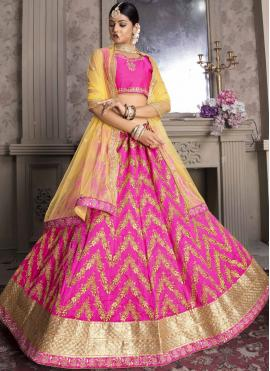 Hot Pink Art Silk Wedding Designer Lehenga Choli