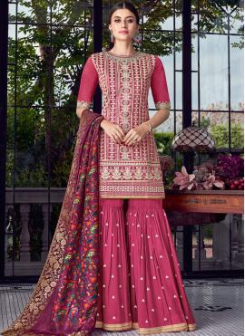 Hot Pink Chanderi Designer Pakistani Suit