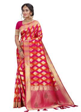 Hot Pink Color Designer Traditional Saree