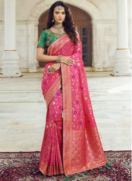 Hot Pink Embroidered Ceremonial Traditional Saree