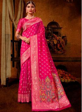 Hot Pink Engagement Banarasi Silk Traditional Designer Saree