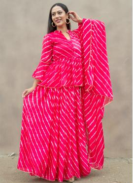 Hot Pink Fancy Festival Readymade Suit