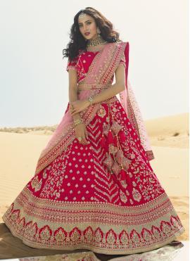 Hot Pink Resham Art Silk A Line Lehenga Choli
