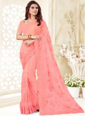 Hot Pink Resham Net Classic Designer Saree