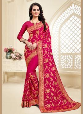 Hot Pink Resham Satin Silk Designer Saree
