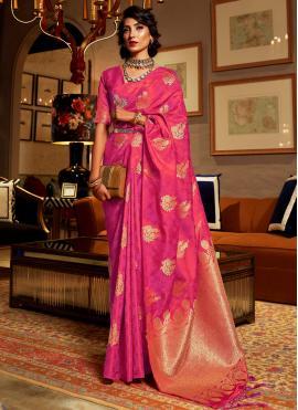Hot Pink Weaving Sangeet Classic Saree
