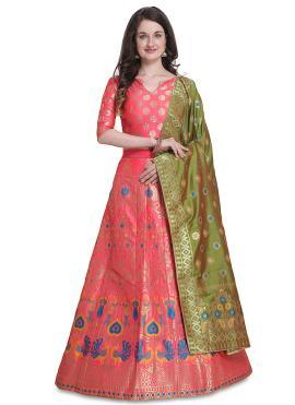 Hot Pink Woven Designer Lehenga Choli