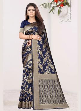 Hypnotic Art Silk Blue Designer Traditional Saree
