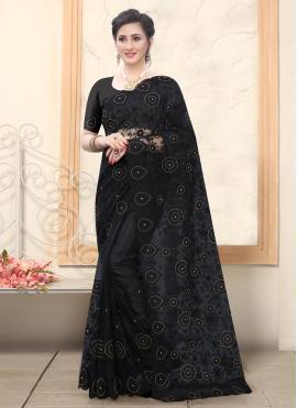 Hypnotic Black Embroidered Designer Saree