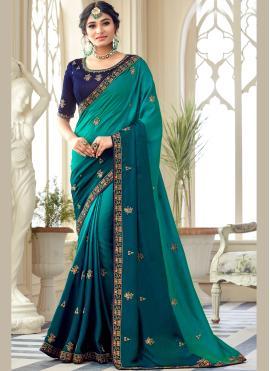 Hypnotic Embroidered Silk Bollywood Saree