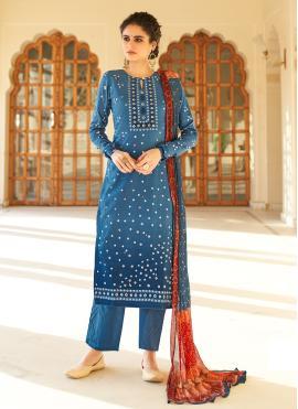 Hypnotic Fancy Fabric Blue Designer Palazzo Salwar Suit