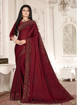 Hypnotic Fancy Fabric Embroidered Designer Saree