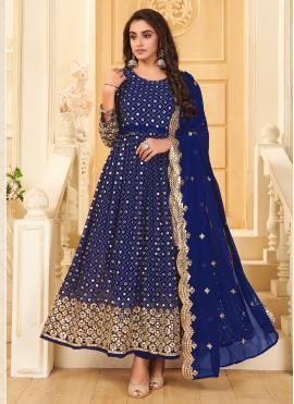 Hypnotizing Blue Mirror Anarkali Suit