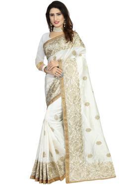 Hypnotizing Embroidered Off White Art Silk Classic Designer Saree