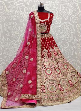 Hypnotizing Embroidered Pink Lehenga Choli