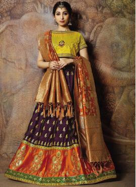 Hypnotizing Purple Embroidered Jacquard Silk Designer Lehenga Choli