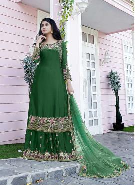Hypnotizing Satin Green Embroidered Designer Pakistani Salwar Suit