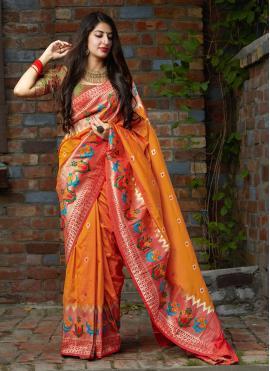 Hypnotizing Silk Orange Silk Saree