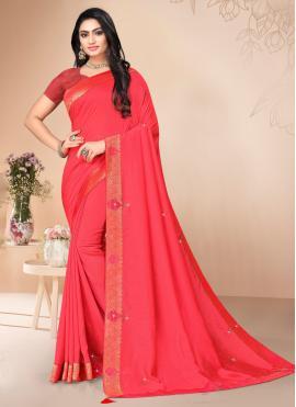Hypnotizing Silk Stone Pink Classic Saree