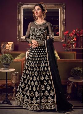 Ideal Embroidered Net Black Trendy Long Length Anarkali Suit