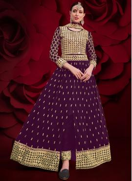 Ideal Purple Faux Georgette Floor Length Anarkali Suit