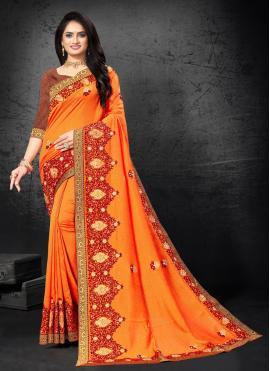 Immaculate Embroidered Orange Designer Traditional Saree