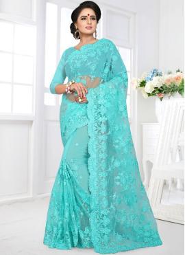 Impeccable Embroidered Blue Classic Designer Saree