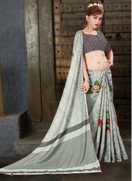 Impeccable Linen Digital Print Contemporary Saree