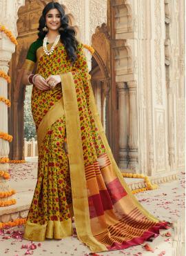 Impeccable Printed Silk Contemporary Saree