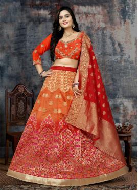 Imperial Banarasi Silk Embroidered Orange and Red Lehenga Choli
