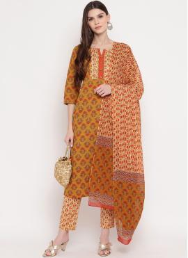 Imperial Handwork Multi Colour Cotton Designer Salwar Kameez