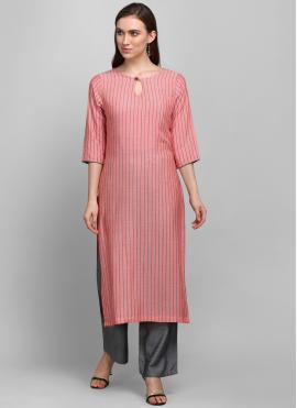 Imperial Printed Pink Rayon Casual Kurti