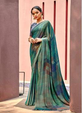 Imposing Faux Chiffon Printed Saree