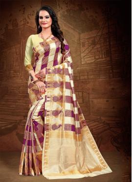 Imposing Multi Colour Woven Art Silk Classic Saree