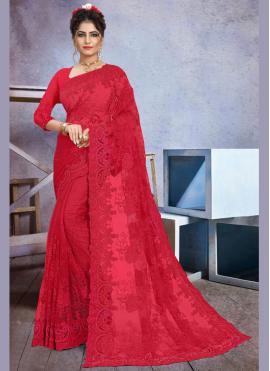 Imposing Net Stone Work Red Trendy Saree