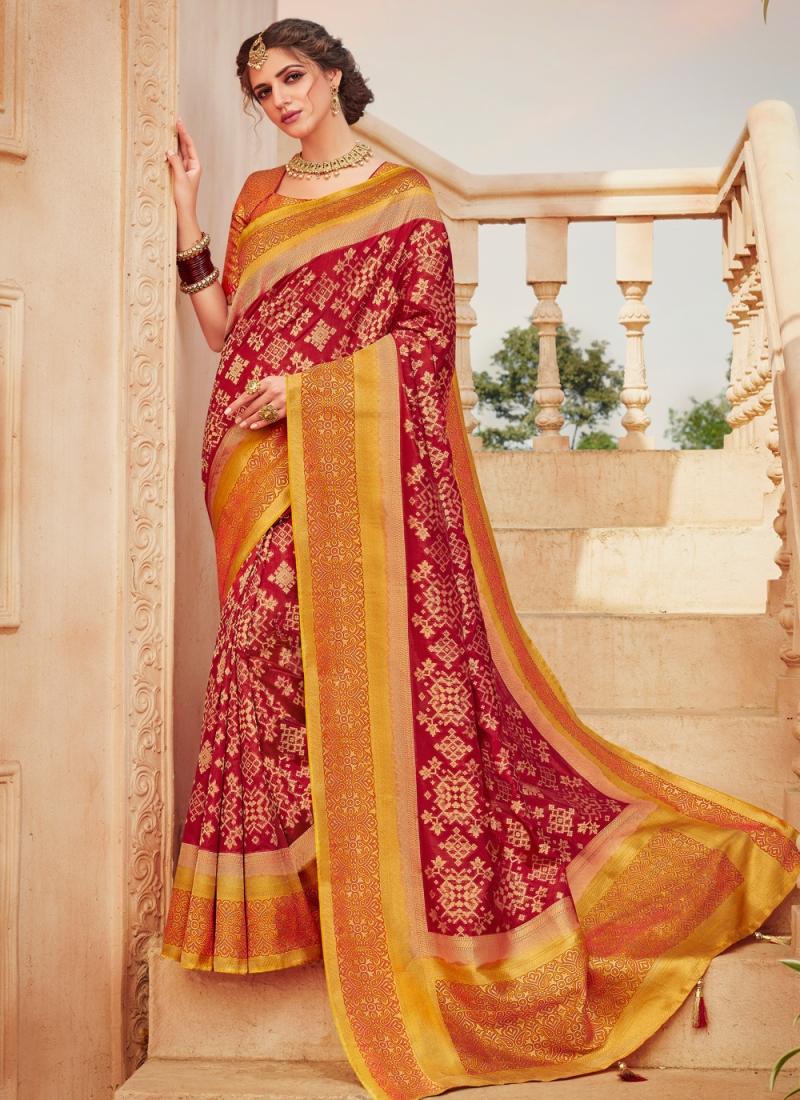 Impressive Banarasi Silk Weaving Red Classic Saree