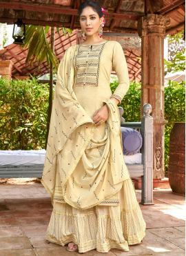 Impressive Embroidered Cotton Yellow Salwar Suit