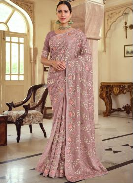 Impressive Embroidered Georgette Satin Bollywood Saree