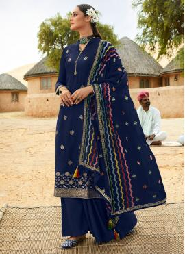 Impressive Fancy Fabric Blue Embroidered Designer Palazzo Salwar Kameez