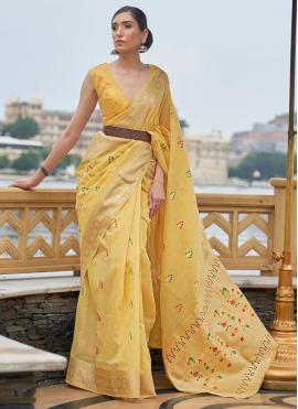 Impressive Linen Yellow Weaving Classic Designer Saree