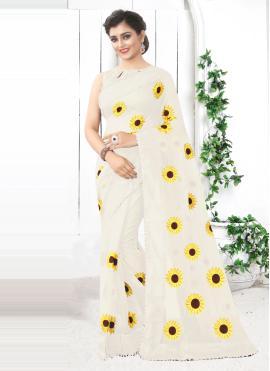 Impressive Off White Printed Saree