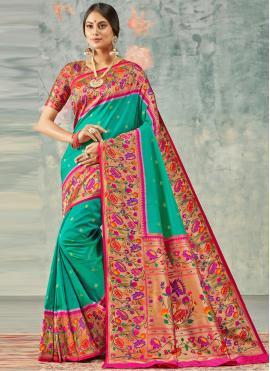Impressive Weaving Silk Green Classic Saree