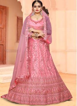 Incredible Patch Border Pink Net Lehenga Choli