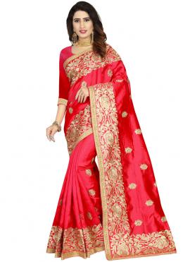 Integral Art Silk Embroidered Red Classic Designer Saree